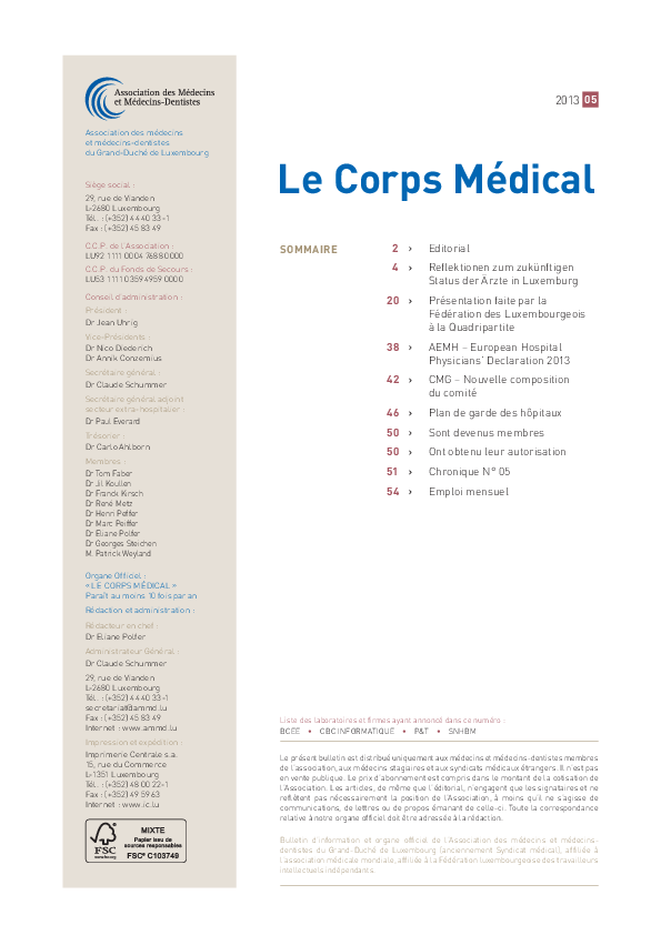 LE CORPS MEDICAL 05/2013 Editorial  Médecine Hospitalière