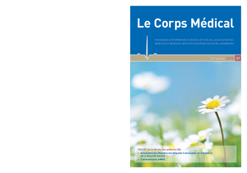 LE CORPS MEDICAL 07/13 Projet de loi - droits des patients BIS
